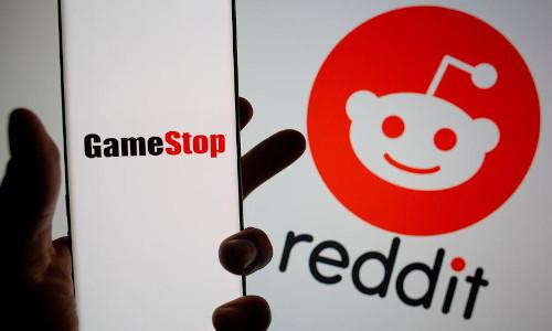The GameStop and Reddit logos.